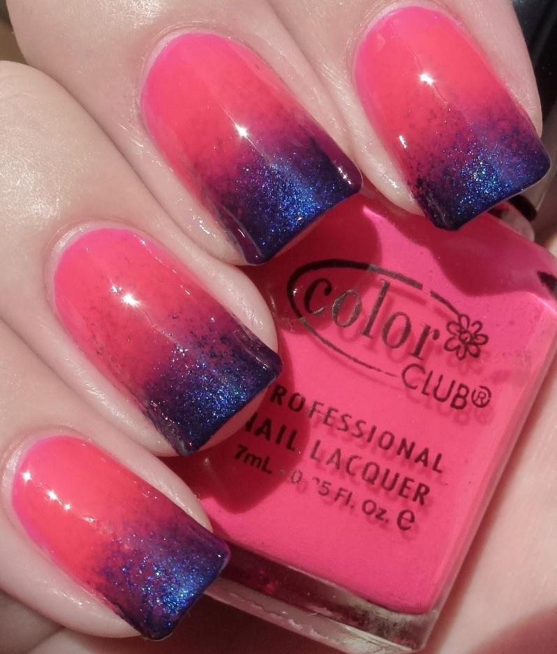 Сине розовый маникюр фото