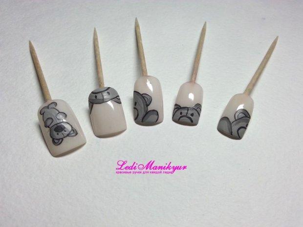 Рисуем мишек Тедди на ногтях