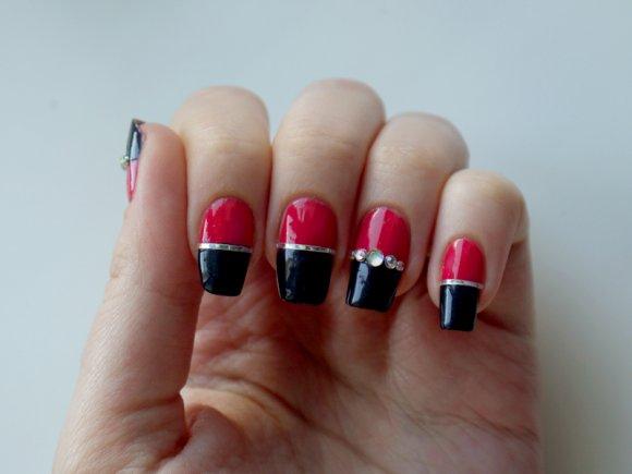 двухцветный дизайн ногтей: