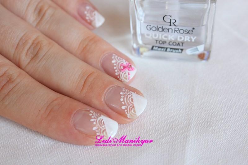 Кружевной дизайн ногтей пошагово